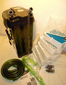 Внешний канистровый фильтр Jebo 809 для очищения воды в пресноводном или морском аквариуме.